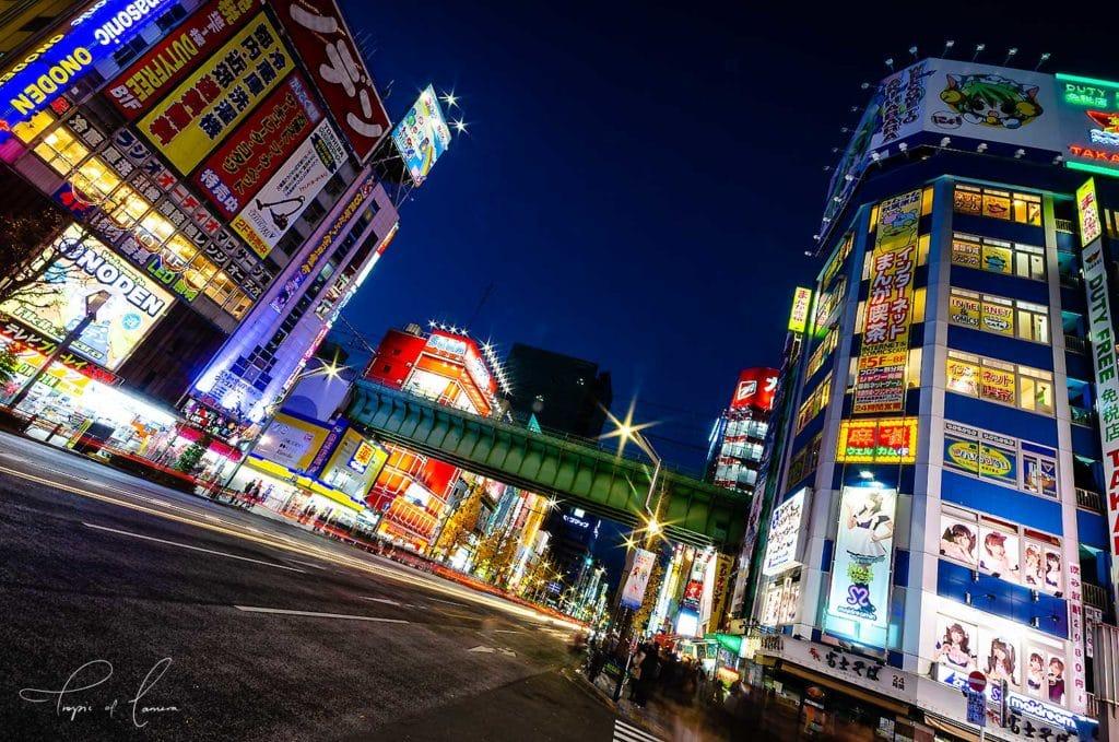 Streets of Akihabara at night, Tokyo, Japan