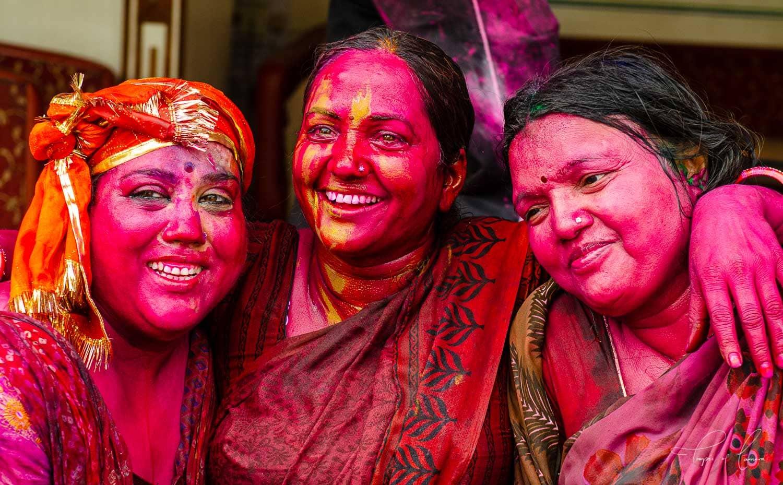 Women celebrating Holi Festival in Jaipur, India