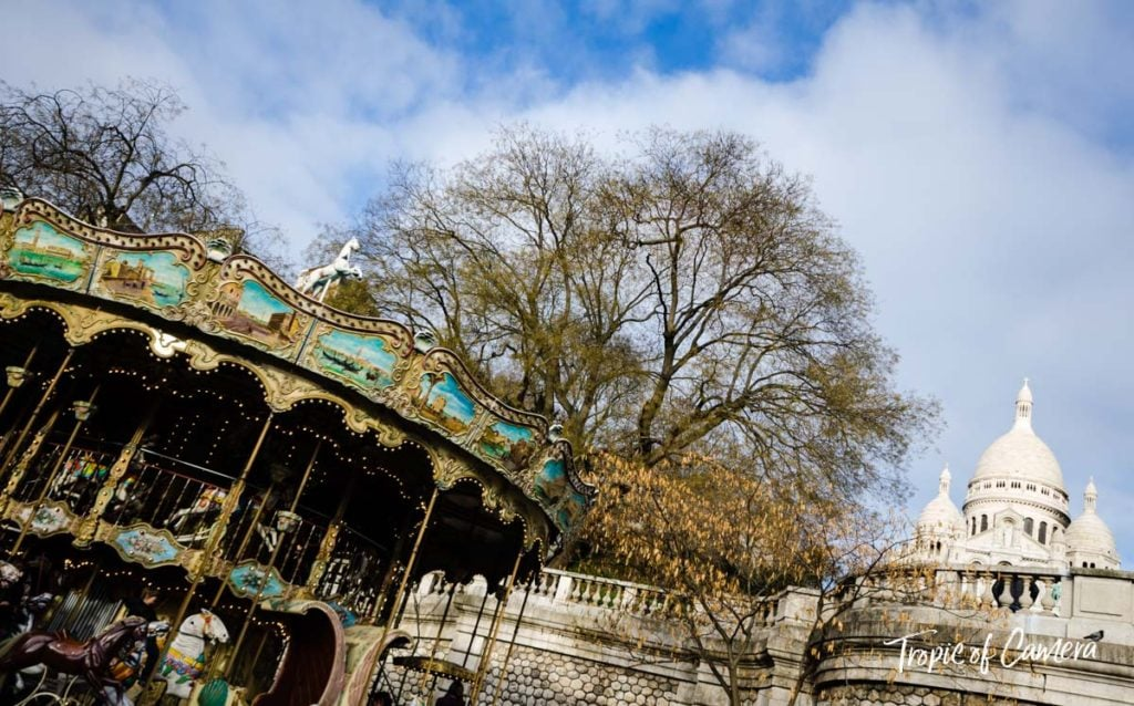 Merry go round at Sacre Coeur in Montmartre, Paris
