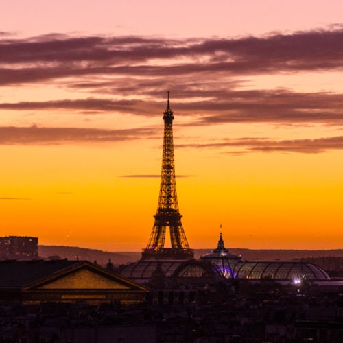 Sunset over the Eiffel Tower in Paris, France