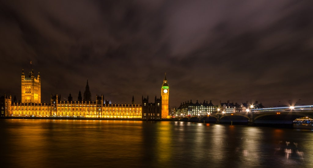 Palace of Westminster at night in London