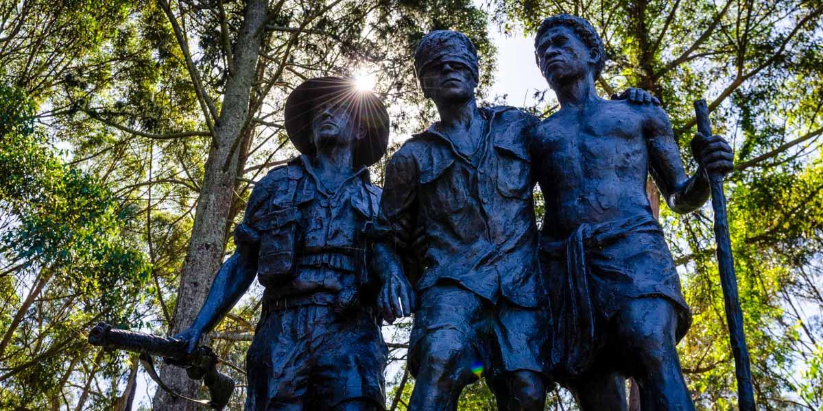 Statue of soldiers at 1000 Steps Kokoda Memorial Track in Dandenong
