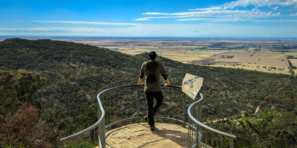 Man watching at lookout at You Yangs Regional Park