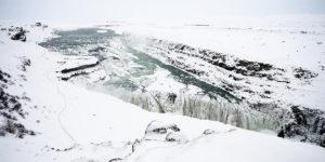 Gulfoss waterfall in winter