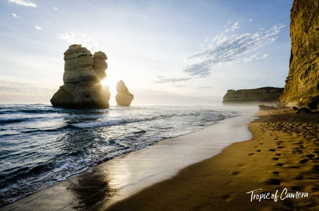 Sun flare on the beach at the Great Ocean Road