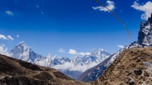 Prayer flags along the mountains in the Himalayas, Nepal