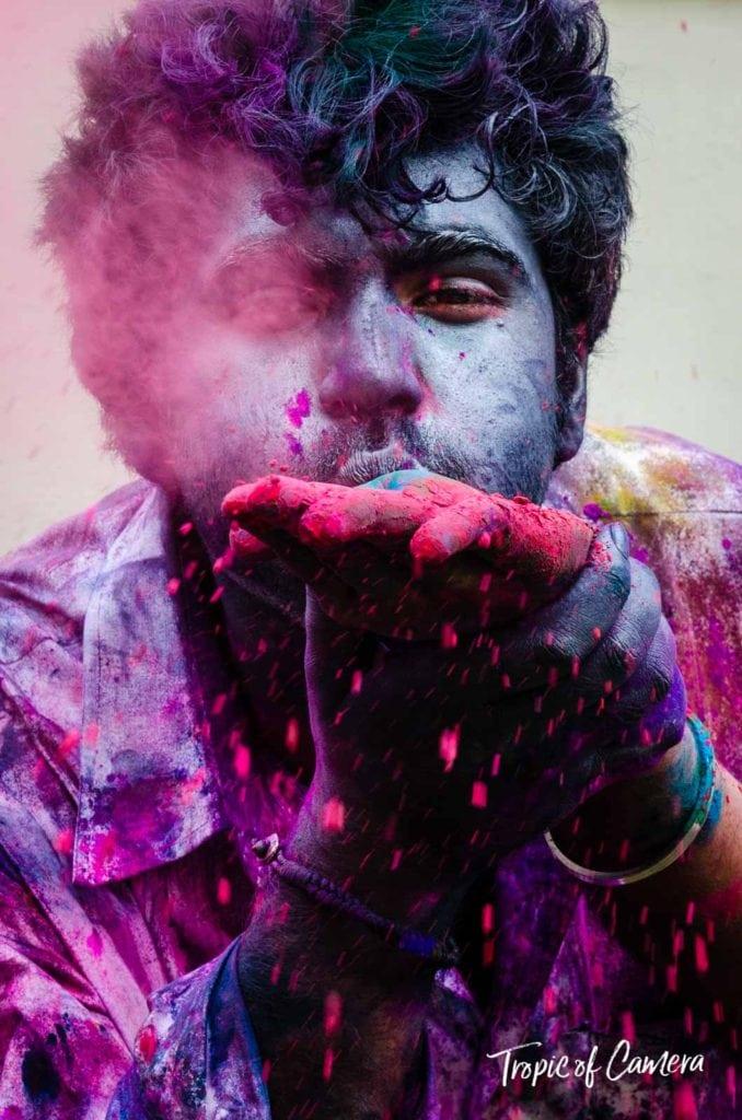 Man celebrating the Holi Festival in Jaipur