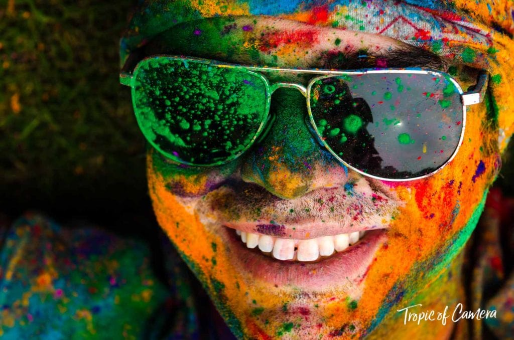 Young tourist celebrating the Holi Festival in Jaipur
