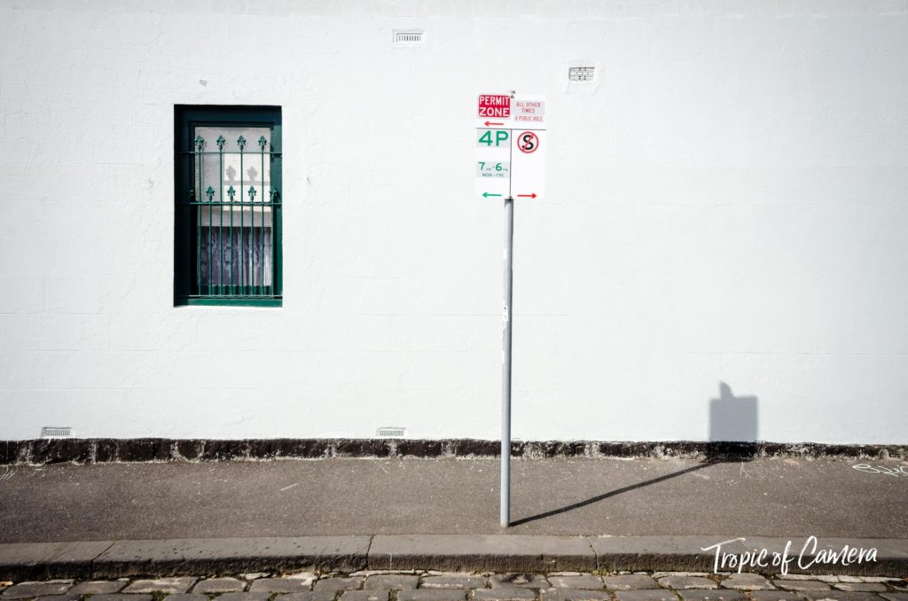 Fitzroy parking sign against a white wall