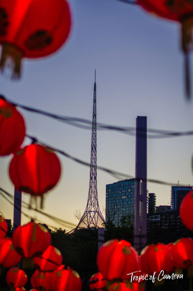 Art centre spire in Melbourne surrounded by lanterns