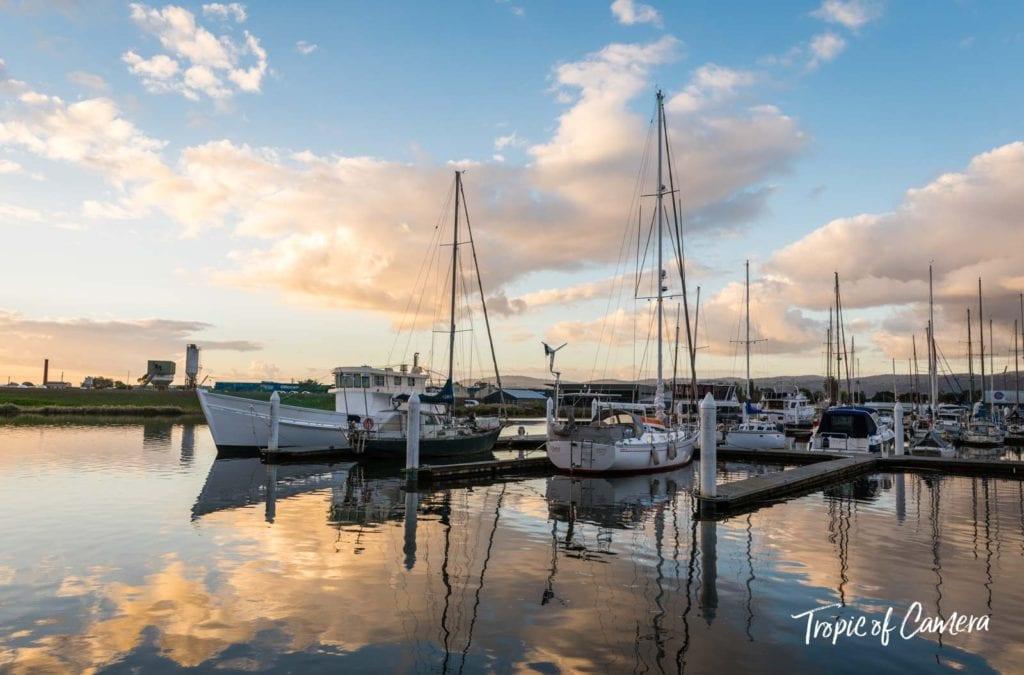 Boats at dock at sunset in Hobart, Australia