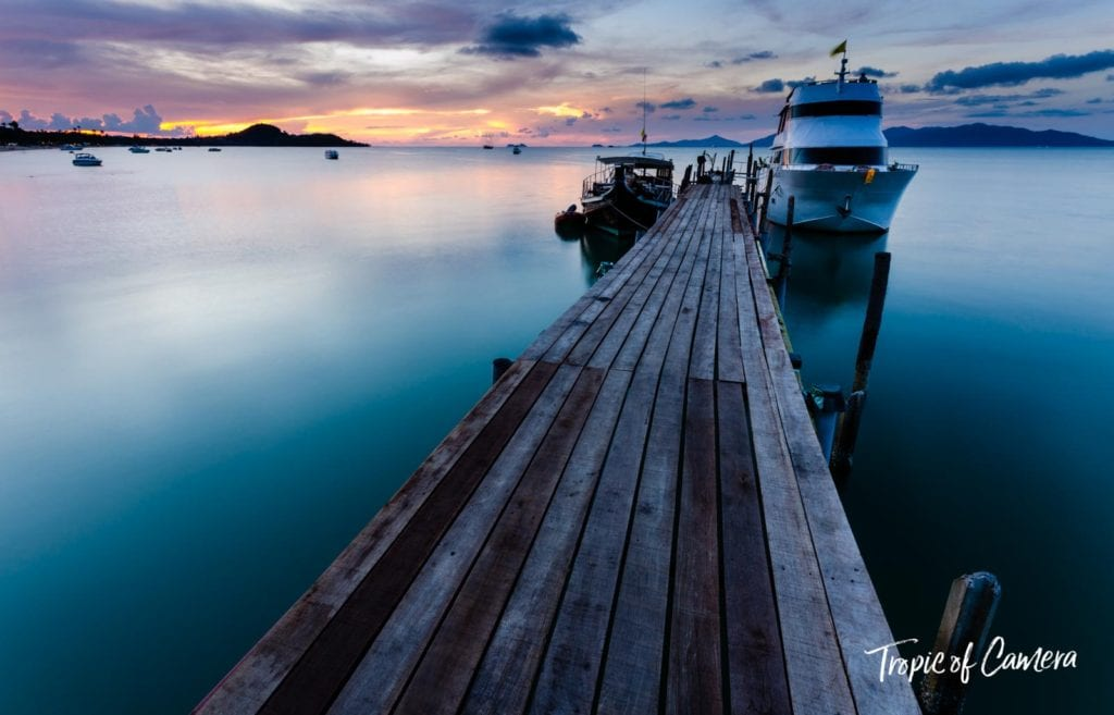 Sunset on the docks at Koh Samui, Thailand