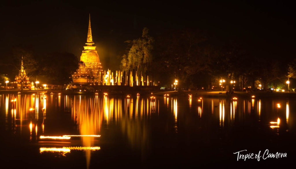 Loy Krathong Festival Lanterns illuminated in lake