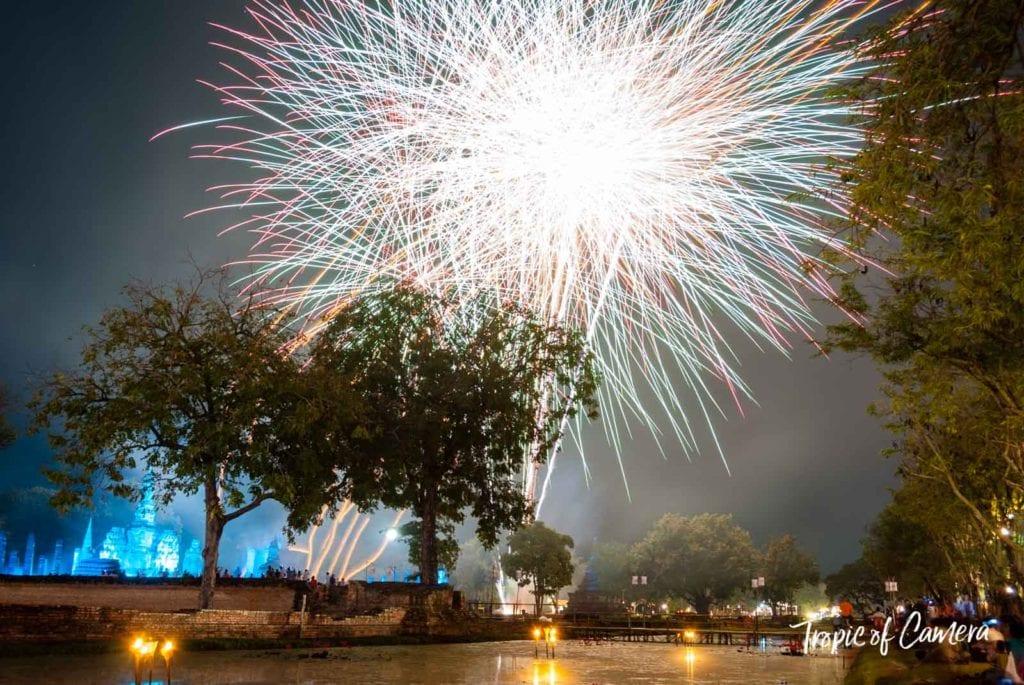 Fireworks at the Loy Krathong Festival in Sukhothai