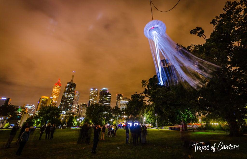 Jellyfish installation at White Night, Melbourne