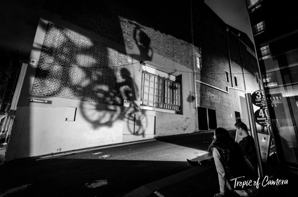 Projections of cyclists on the wall at White Night
