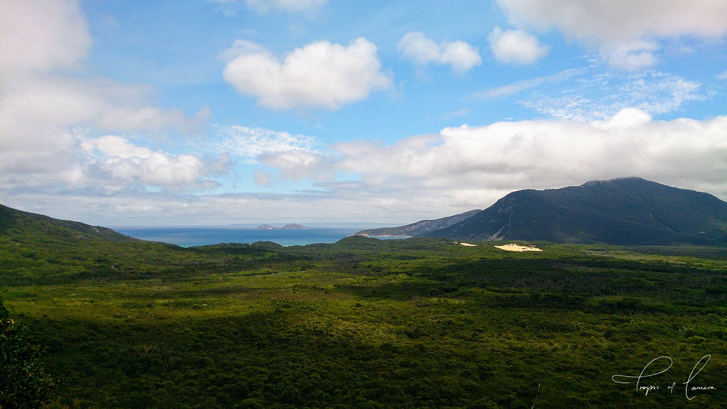 View towards ocean and mountain in Wilson's Promontory National Park