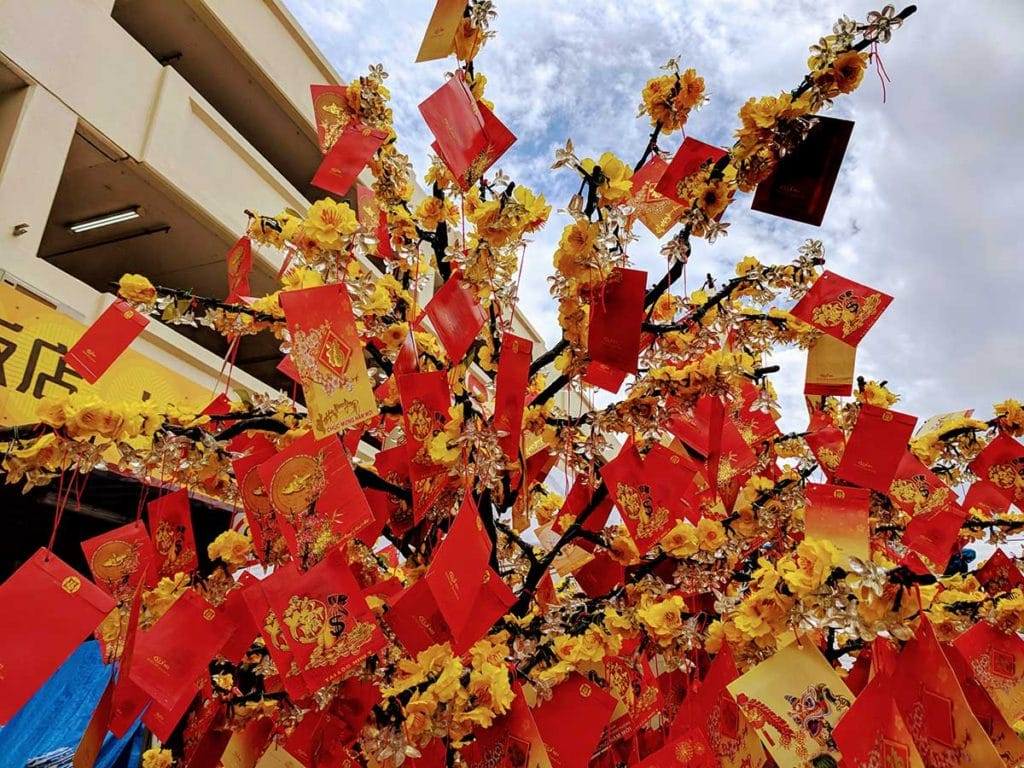 Red packets on a tree at the Footscray Lunar New Year celebrations