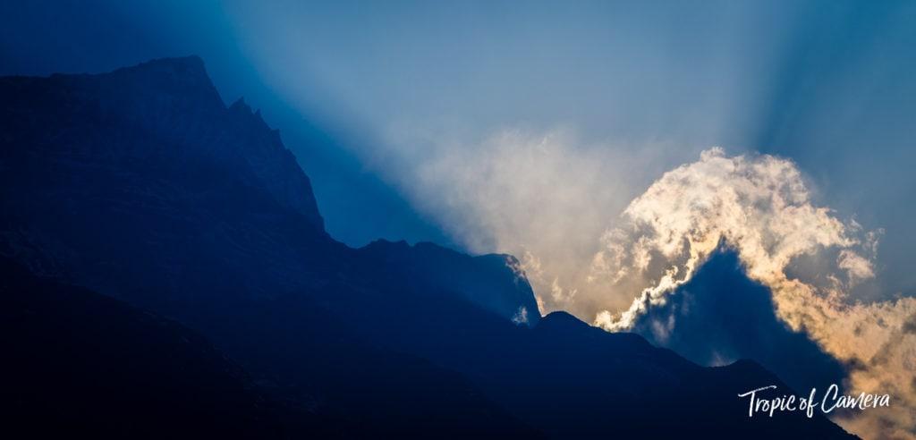 Sunlight bursting through clouds in the Himalayas, Nepal