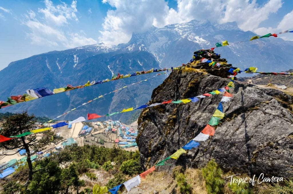 Prayer flags on a mountain above Namche Bazaar, Nepal