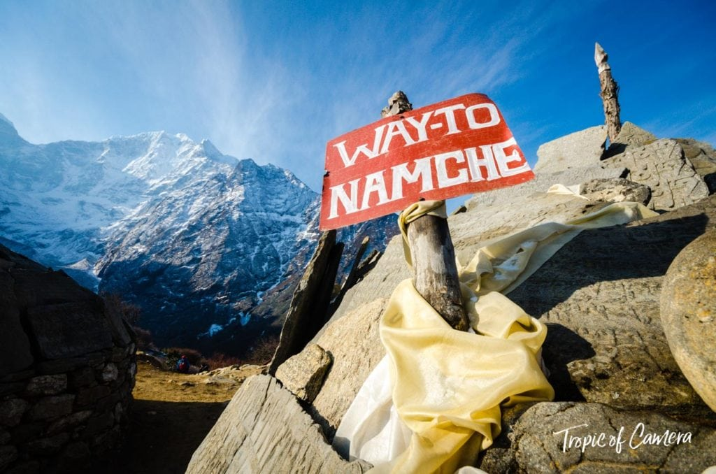 Sign directing hikers to Namche Bazaar in the Himalayas, Nepal