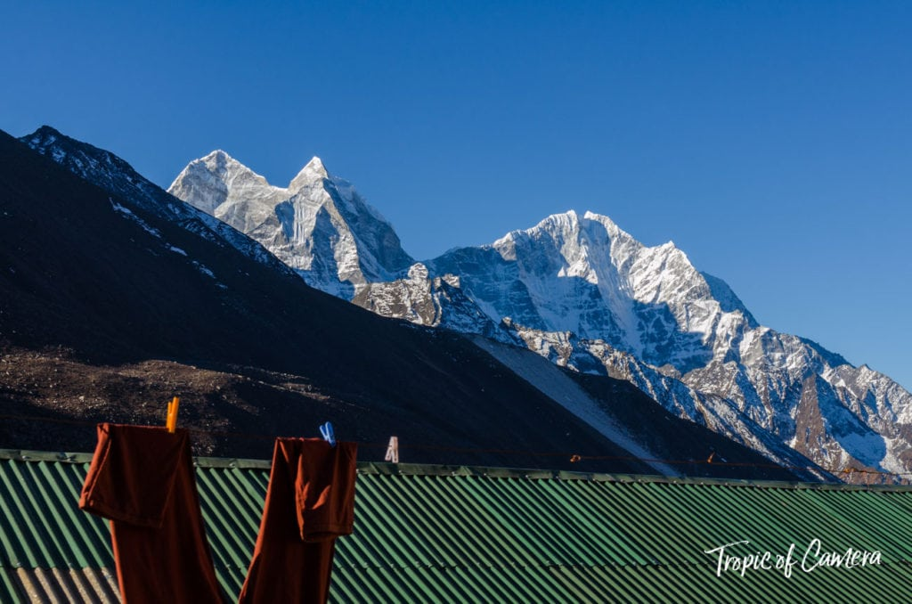Pants hanging on clothesline in the Himalayas, Nepal