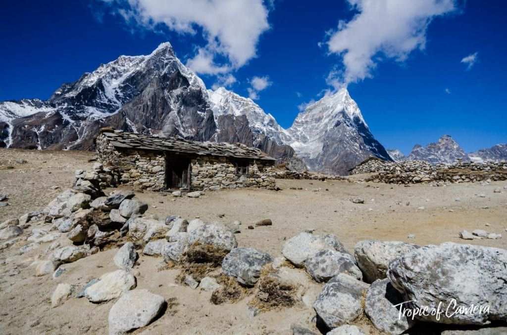 A small stone hut in the Himalayas, Nepal