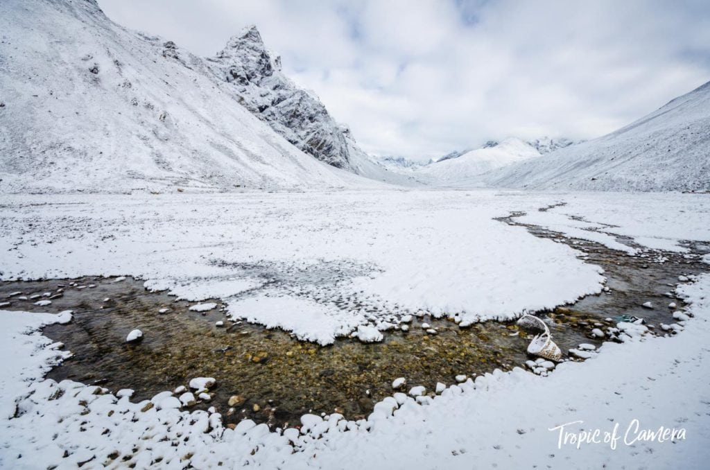 Icy stream through the Himalayas in Nepal