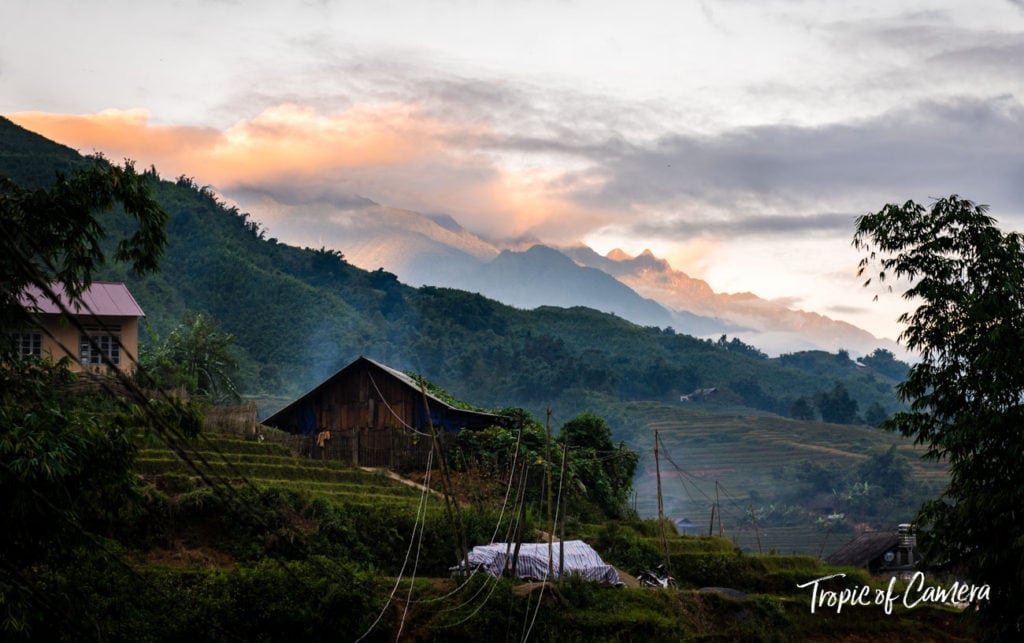 Sunrise over the village in Sa Pa, Vietnam