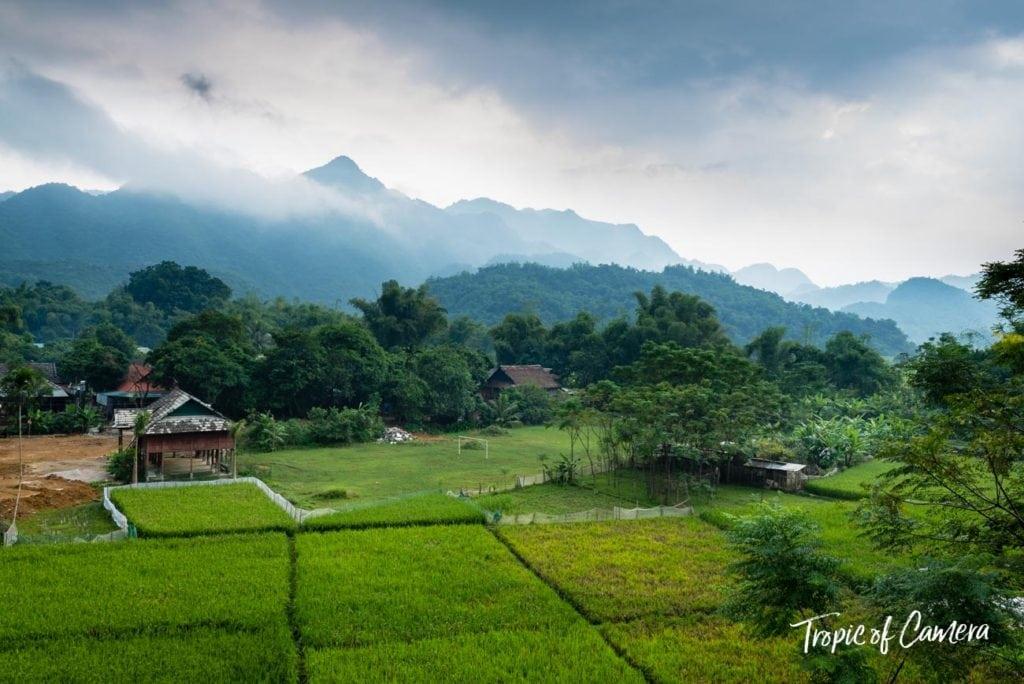 Mountains against rice paddies in Mai Chau, Vietnam