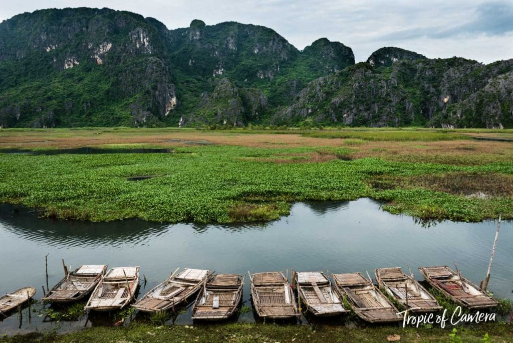 Boats on the river in Ninh Binh in Vietnam