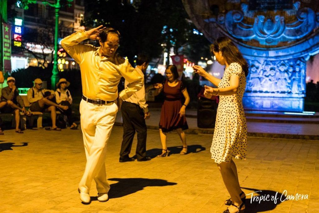 A man dances at night in Sa Pa, Vietnam
