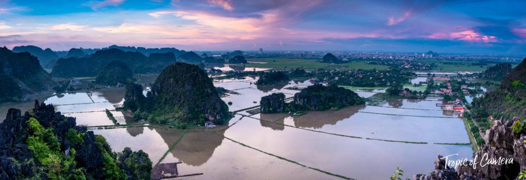 Panorama of Ninh Binh at Sunset, Vietnam