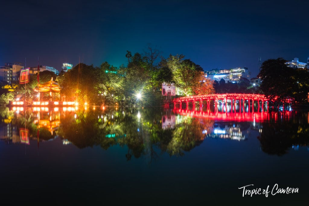 The temple at Hoan Kiem Lake at night in Hanoi