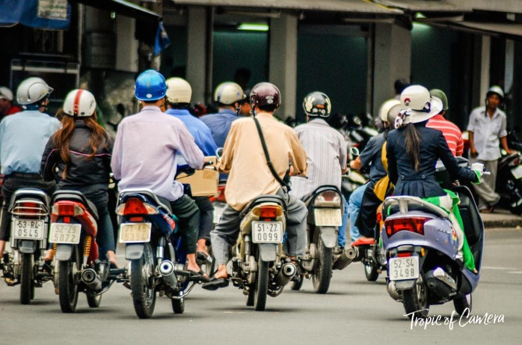 Motorbike traffic in Vietnam