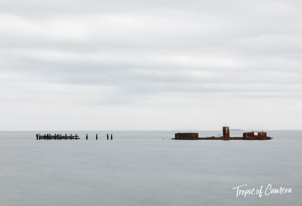Long exposure photograph of Half Moon Bay with the shipwreck of HMVS Cerberus