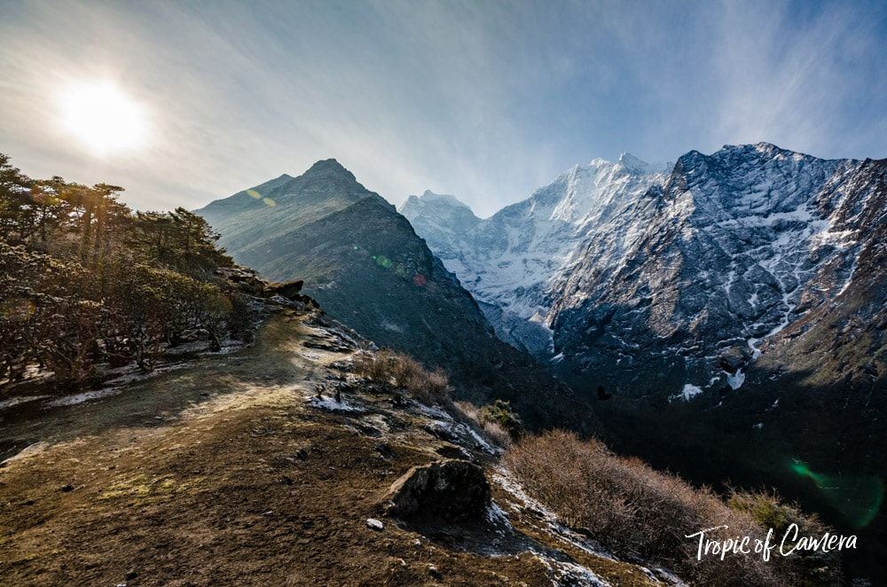 Sun against the Himalayas, Nepal