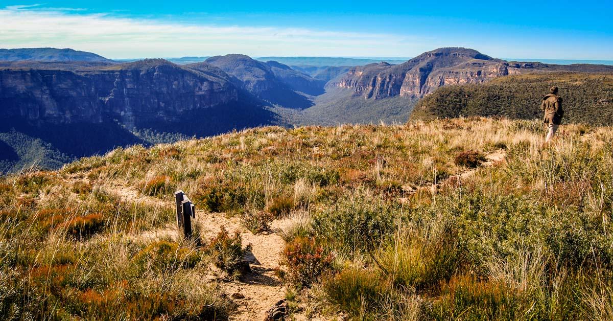 Man walking along Lockley's Pylon in the Blue Mountains near Sydney