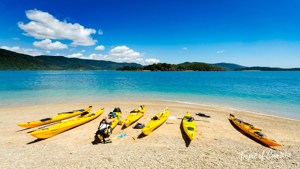 Kayaks in a marine national park in the Whitsundays, Queensland