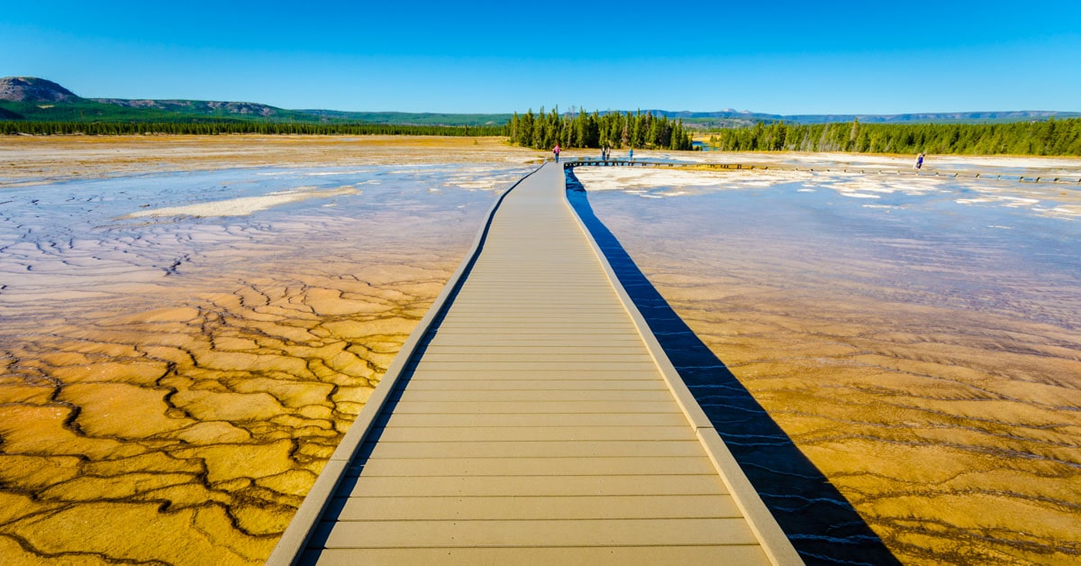 Path across the Grand Prismatic Spring in Yellowstone National Park