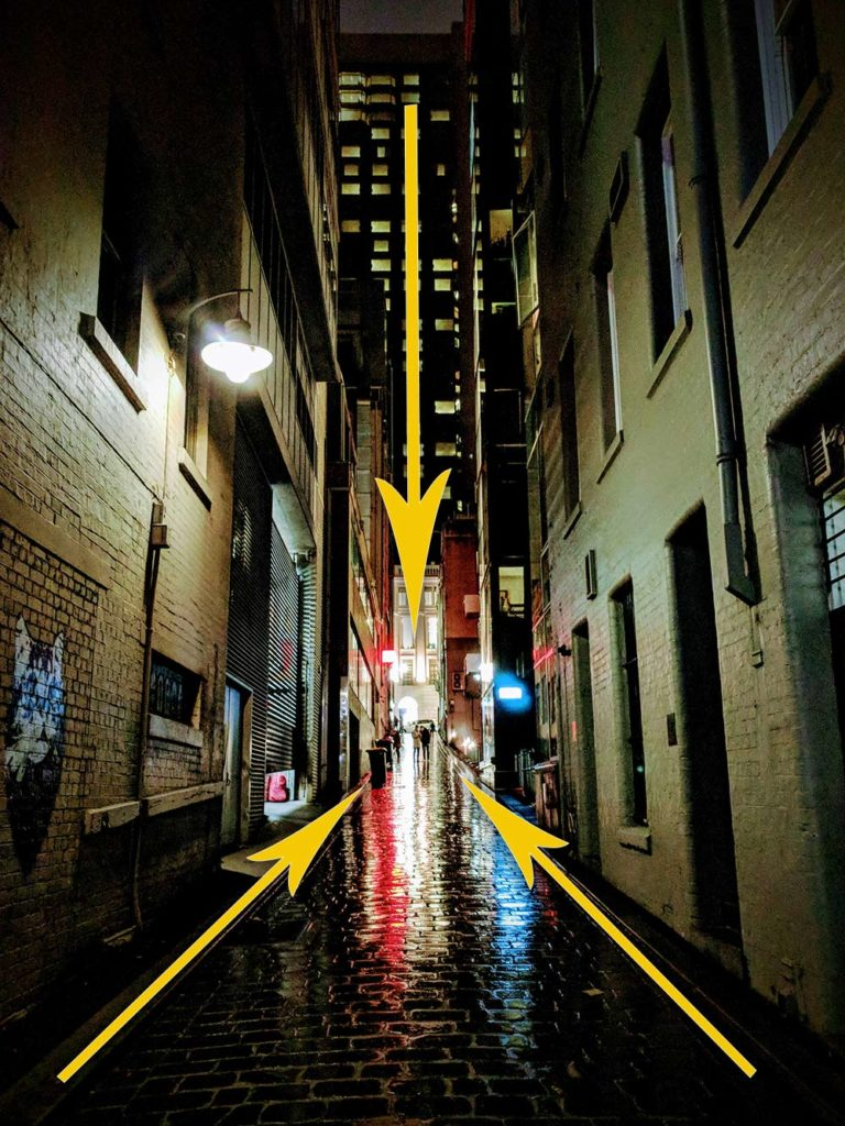 Demonstration of leading lines on a photo of a Melbourne alleyway at night