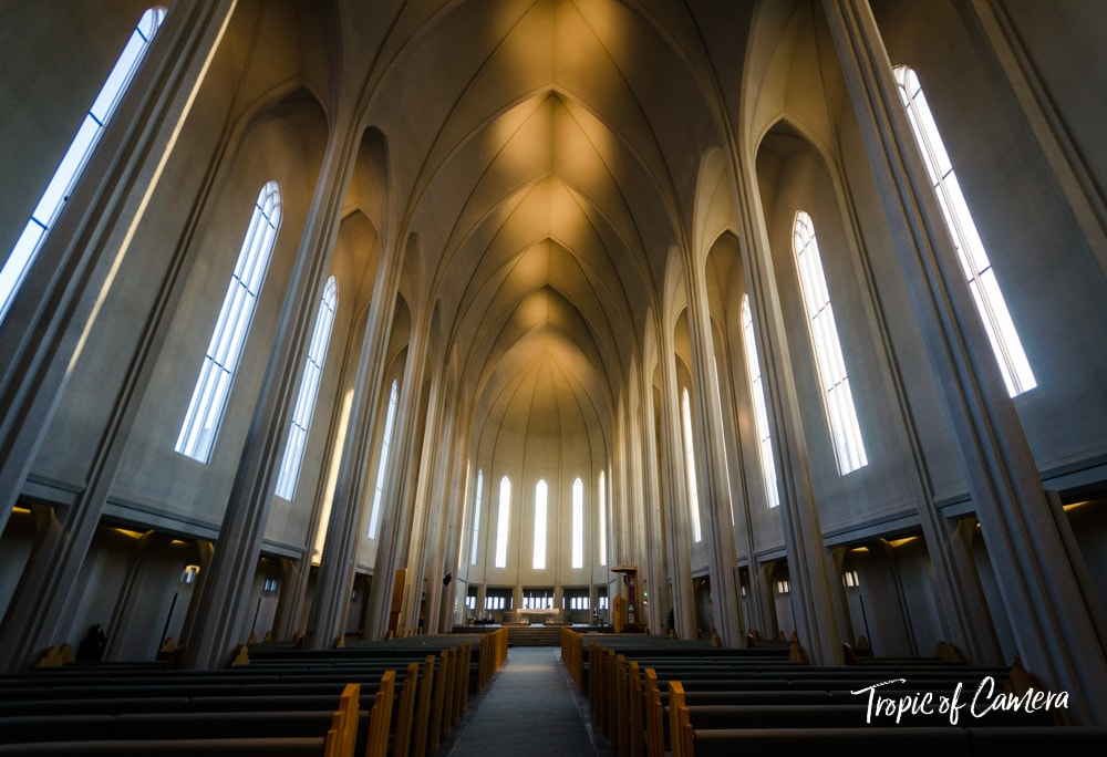 The interior of Hallgrímskirkja Church in Reykjavik, Iceland