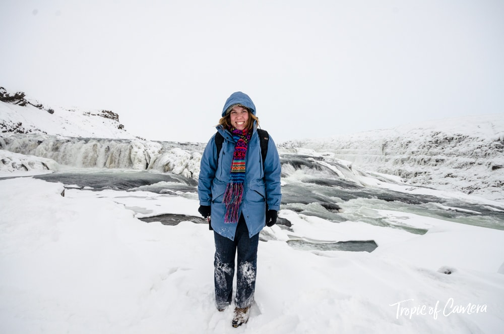 Kat Clay in front of Gullfoss Waterfall, Iceland