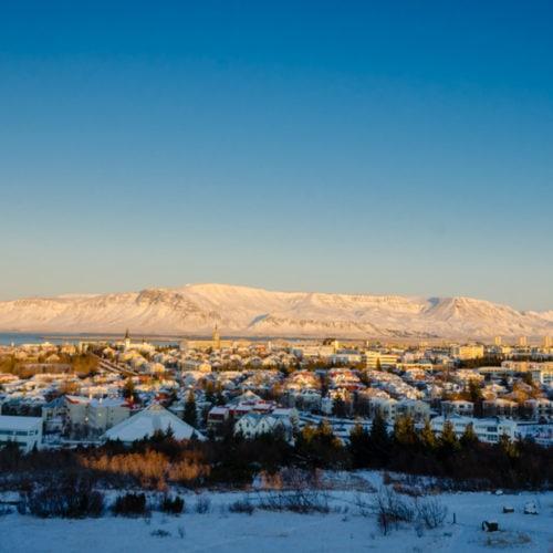 View of Reykjavik, Iceland in winter