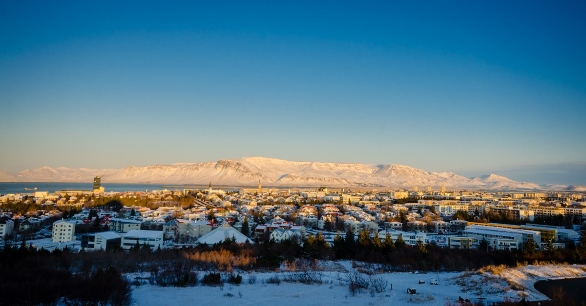 View of Reykjavik, Iceland in winter