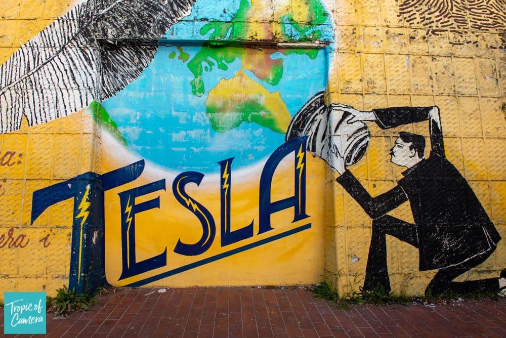 Street art of Tesla in Zagreb