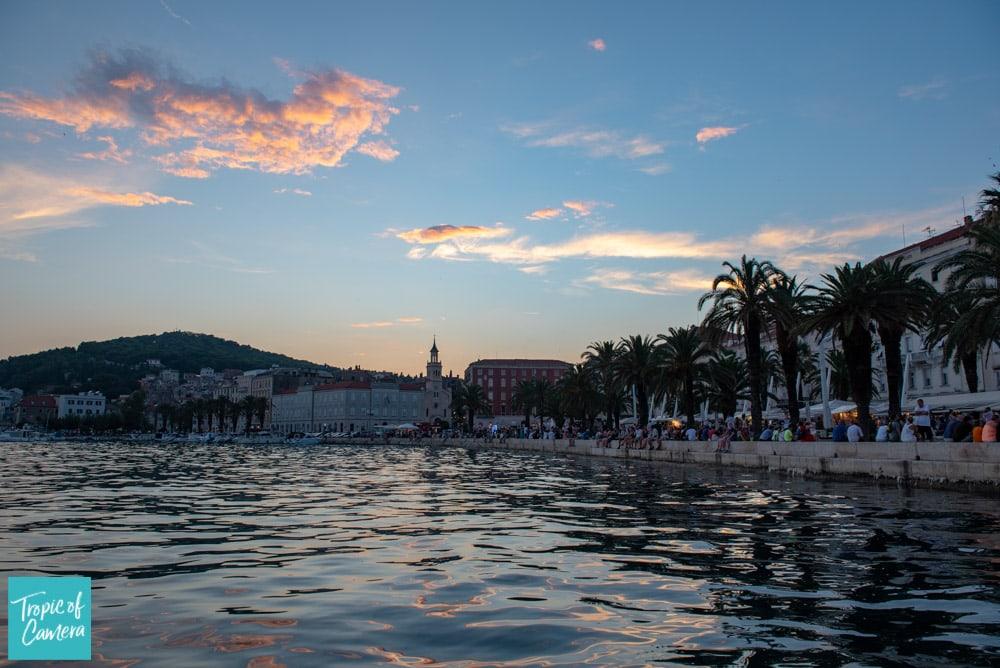 Sunset over the harbour in Split, Croatia