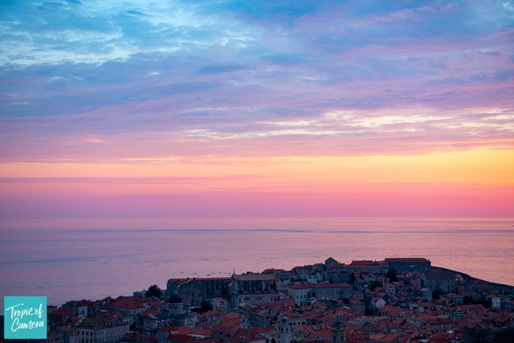 Sunset over the city of Dubrovnik, Croatia