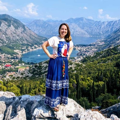 Woman atop the mountain overlooking Kotor