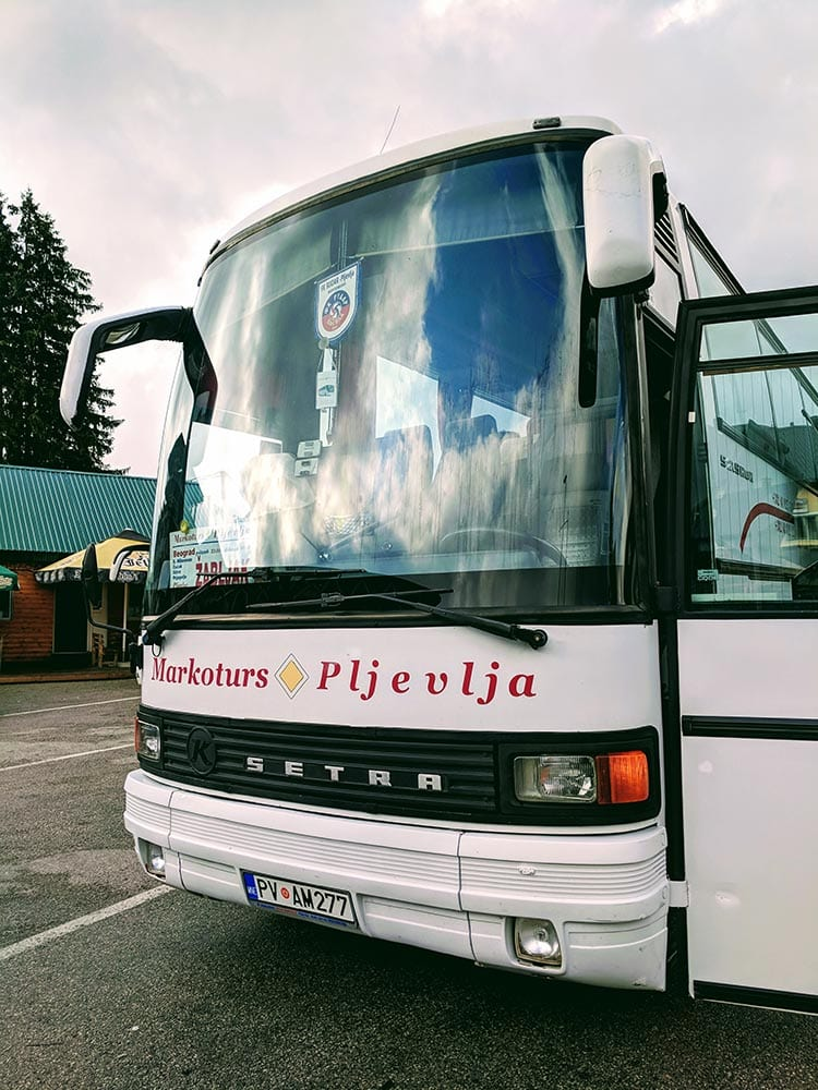 Bus from Serbia to Montenegro at Zabljak Bus Station